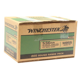 800 Round Case Winchester M855 5.56x45mm NATO 62gr Green-Tipped Penetrator FMJ - Made by Lake City Army Ammunition Plant in USA!