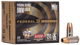 200 rounds Federal Premium P9HS1 - 9mm 124gr Hydra-Shok Jacketed Hollow Point in 20 round boxes