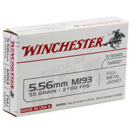 1000 Rounds Winchester XM193 5.56 NATO 55 Gr. FMJ in 20 round boxes - Made by Lake City Ammunition Plant in USA!
