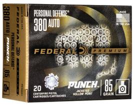 200 Round Case Federal Premium Personal Defense Punch .380 Auto 85gr JHP - PD380P1