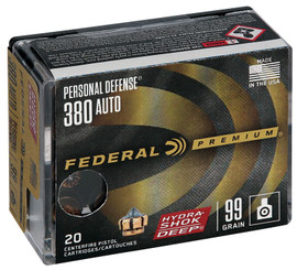 20 Rounds Federal Premium Personal Defense Hydra-Shok Deep .380 Auto 99gr JHP - P380HSD1 - Minimum 2