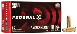 50 Rounds Federal American Eagle .38 Special 130gr FMJ in 50 round boxes - AE38K - Minimum 4 boxes