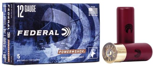 "250 Round Case Federal Power-Shok Buckshot F127 00 - 12 GA 2-3/4"" 00 Buck, 9 Pellet"