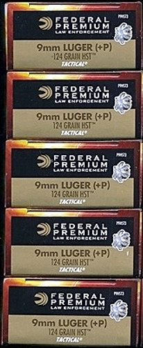 250 rounds Federal Premium LE Tactical P9HST3 - 9mm 124gr +P HST Jacketed Hollow Point in 50 round boxes