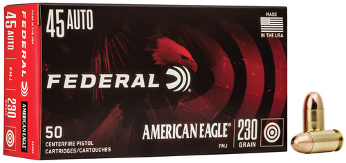 500 Rounds Federal American Eagle .45 ACP 230gr FMJ AE45A