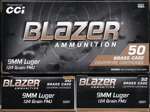 1000 Rounds CCI Blazer Brass Target 9mm Luger 124gr FMJ Made in USA!