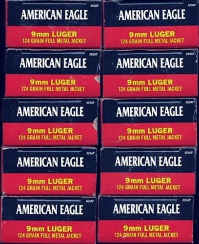 1000 Round Case Federal American Eagle AE9AP - Target 9mm 124gr FMJ