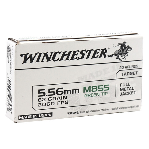 1000 Rounds Winchester 5.56 NATO 62 Gr. Green Tipped FMJ M855 packaged in 20 round boxes
