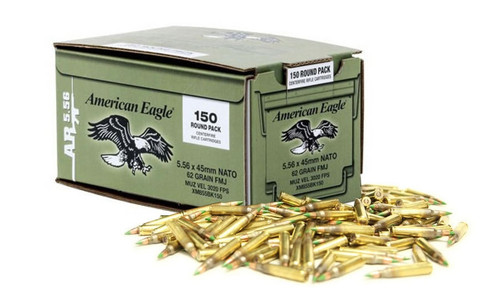 600 Round Case Federal American Eagle XM855 5.56x45mm NATO 62gr Green-Tipped Penetrator FMJ - Made by Lake City Ammunition Plant in USA!