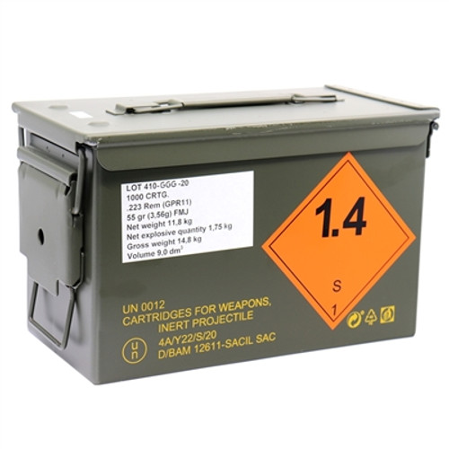1000 Rounds .223 Rem 55 Grain FMJ in Ammo Can - Made by Lithuanian Military Manufacturer GGG
