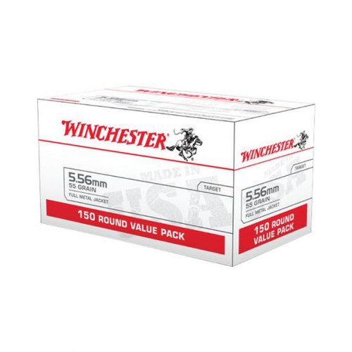 600 Round Case Winchester 5.56 NATO 55 Gr. FMJ M193 packaged in 150 round value packs