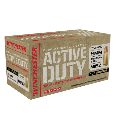 500 Round Case Winchester Active Duty 9mm Luger 115 Grain FMJ Flat Nose in 100 round boxes - WIN9MHSC - Minimum 2 Cases