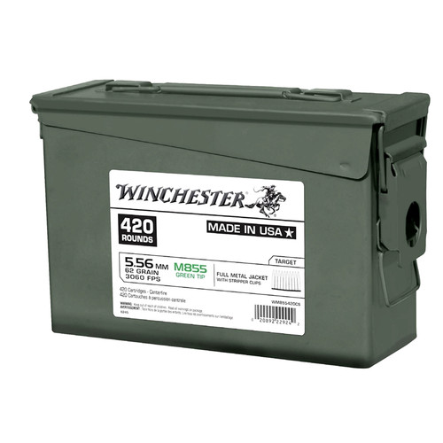 420 Rounds Winchester 5.56 NATO M855 62gr Green Tip FMJ on Stripper Clips in Ammo Can - Same as XM855