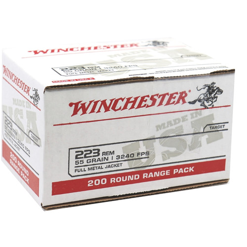 800 Round Case Winchester .223 55 Grain FMJ in 200 round Value Packs - Made in USA!