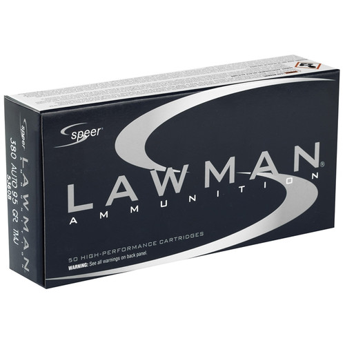 1000 Rounds Speer Lawman .380 ACP 95gr TMJ in 50 round boxes 53608