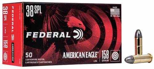 50 Rounds Federal American Eagle .38 Special 158gr LRN in 50 round boxes - AE38B - Minimum 5 boxes