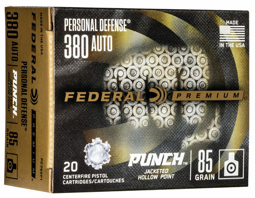 20 Rounds Federal Premium Personal Defense Punch .380 Auto 85gr JHP - PD380P1 - Must buy 2