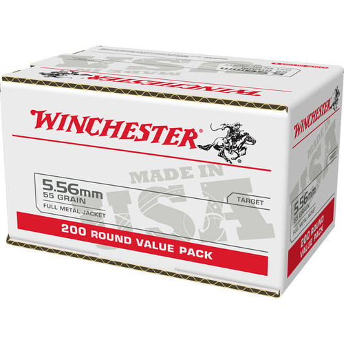 800 Round Case Winchester 5.56 NATO 55 Gr. FMJ M193 packaged in 200 round value packs