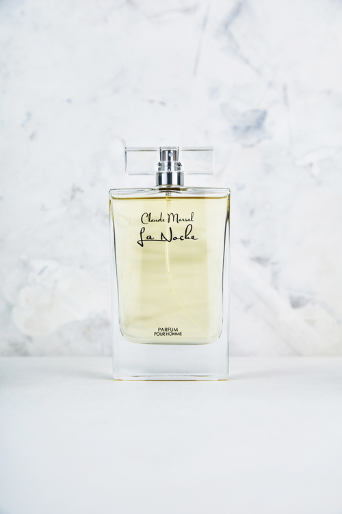 """""""La Noche"""" for men was created by Claude Marsal to elicit robust masculinity with a keen sense of ambition yet it has an understated tenderness all in one. """"La Noche"""" belongs to the citrus and woody fragrance family.  TOP NOTES The perfume opens with sweet Pineapple, Lavender, Lemon Verbena and Bergamot. HEART NOTES It continues to the foundation of beautiful Rose, Geranium, Dried Fruits, Red Apple, Oak Moss, and Coumarin. BASE NOTES The last touch of the perfume is Tonka Beans and Sandalwood."""