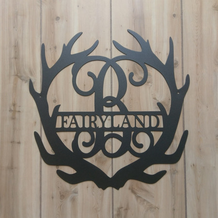 Deer Antler Monogram Sign