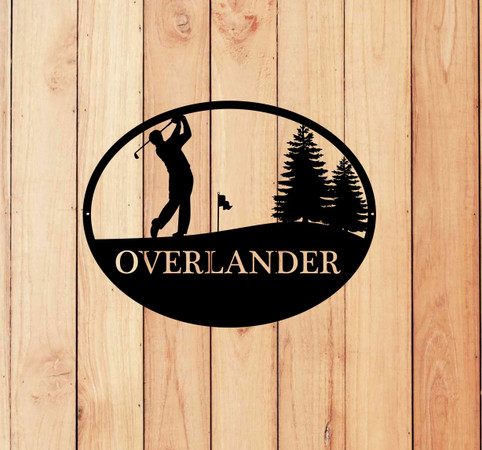 Male Golfer Oval Monogram Sign