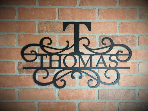 Top Letter and Name Swirl Monogram Sign