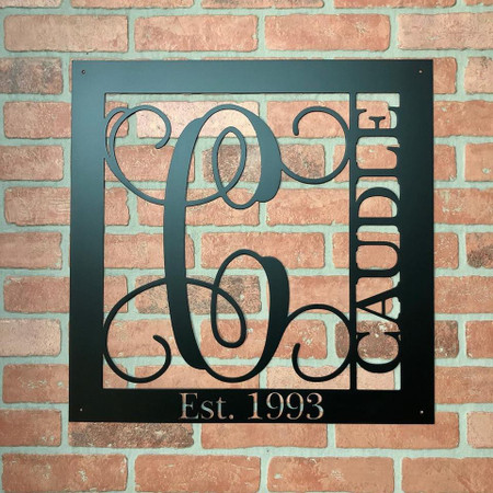 "Square Monogram  Sign Est date included!- 22""t x 22""w"