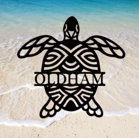 Sea Turtle Monogram Sign