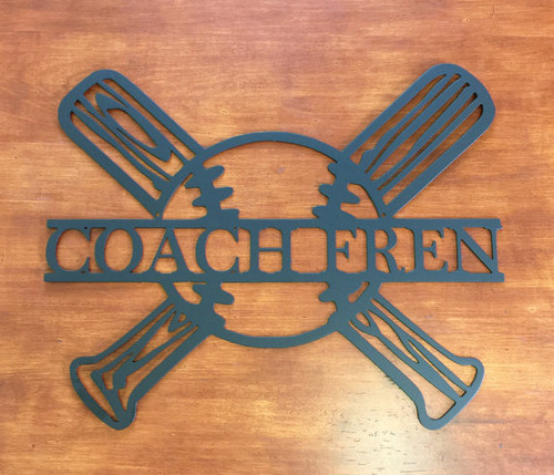 Custom Sports Baseball Bat and Ball  Monogram Sign