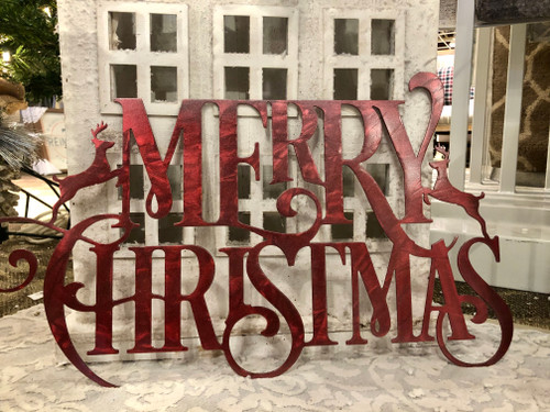 Weatherproof Christmas Merry Christmas  Wreath Holiday Outdoor Metal Sign