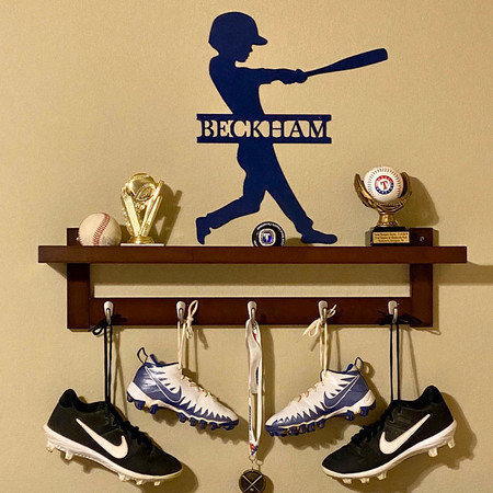 Custom Sports Baseball Bat Batting Boy, Batter up Monogram Sign