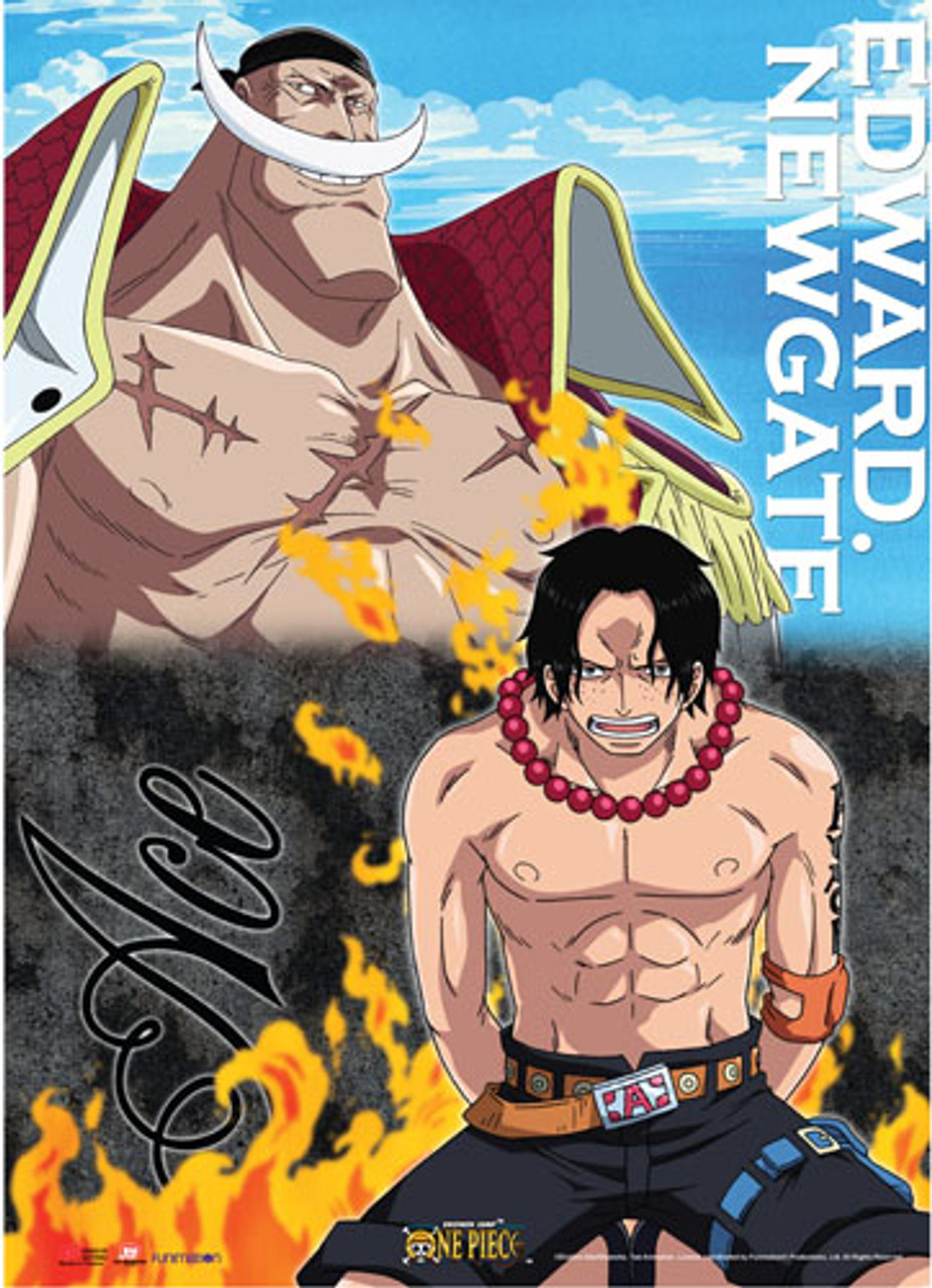 One Piece Ace and WhiteBeard at Marineford Wall Scroll