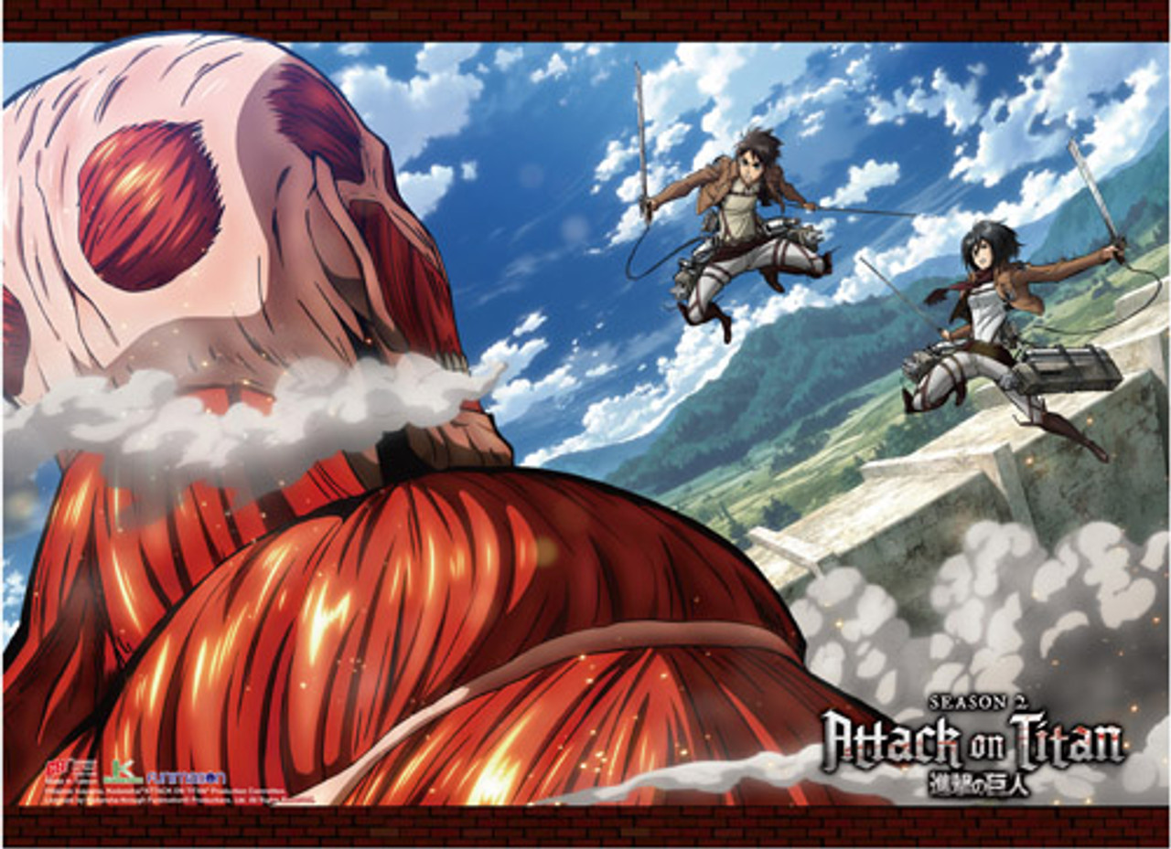 Attack On Titan 2 Colossal Titan Vs Eren And Mikasa During Season 2 High End Wall Scroll Stella S Belle