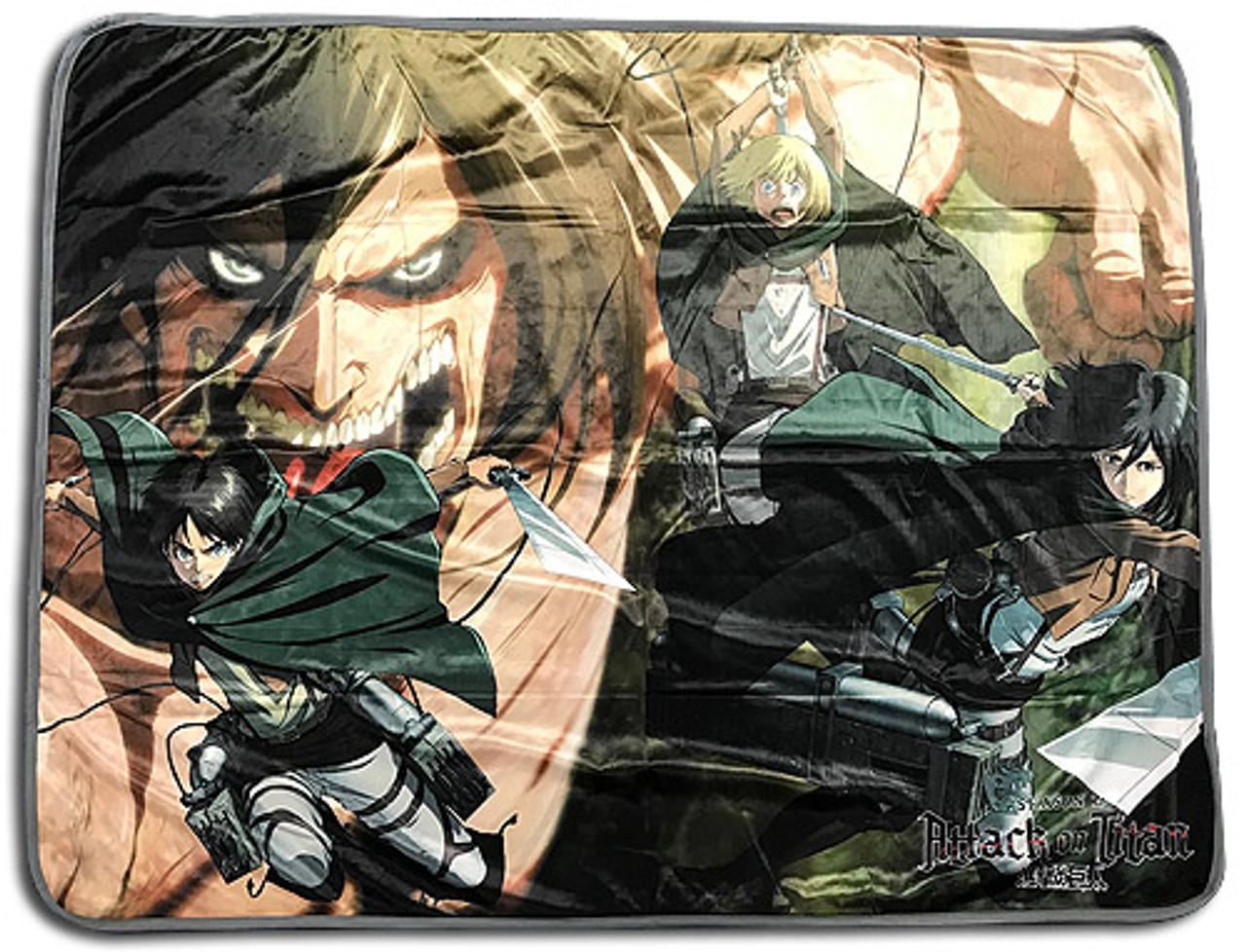 New Blue Sky Attack on Titan Battle Plush Throw Gift Blanket Eren Armin Mikasa
