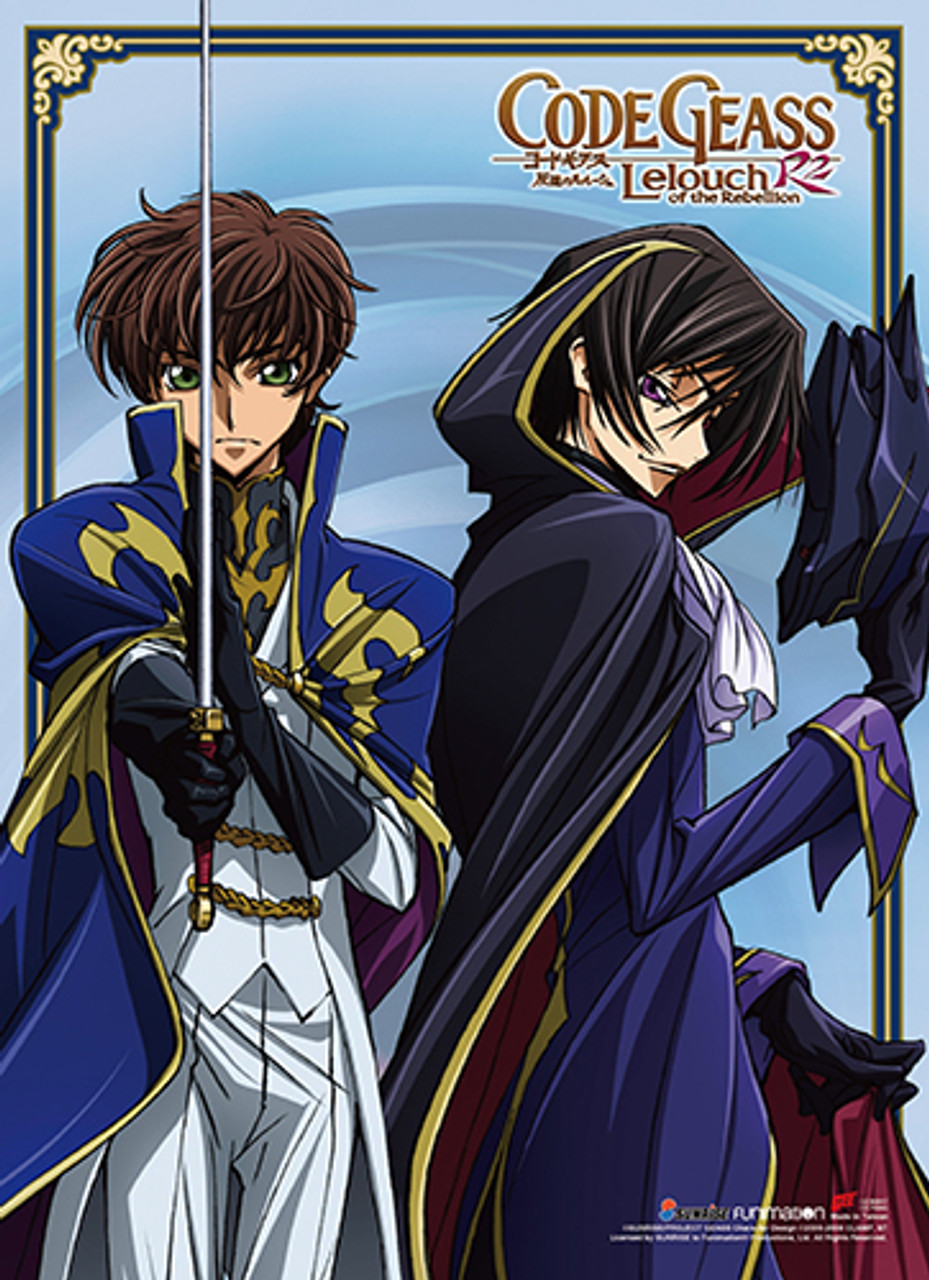 Code Geass Lelouch Dressed As Zero, and Suzaku With His Sword Drawn Wall  Scroll