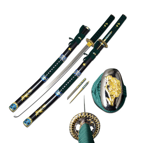 "38.5"" Green Handle Samurai Sword with Throwing Knife"