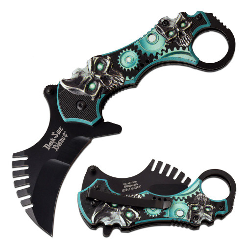 "7.5"" Steel, Karambit Blade, Teal Skulls and Gears Printed Handle, Spring Assisted Folding Knife"
