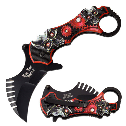 "7.5"" Steel, Karambit Blade, Red Skulls and Gears Printed Handle, Spring Assisted Folding Knife"