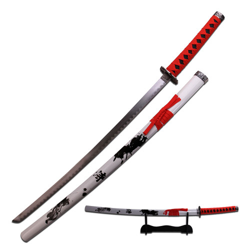 """40"""" High Carbon Steel Sword with Samurai Printed Sheath and Black Wood Stand"""