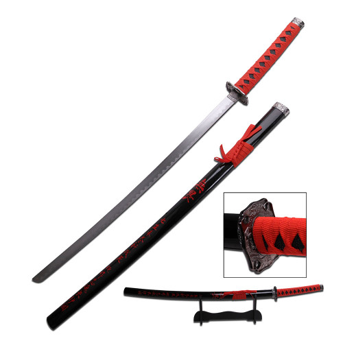 """40"""" High Carbon Steel Sword with Red Inscription Sheath and Black Wood Stand"""