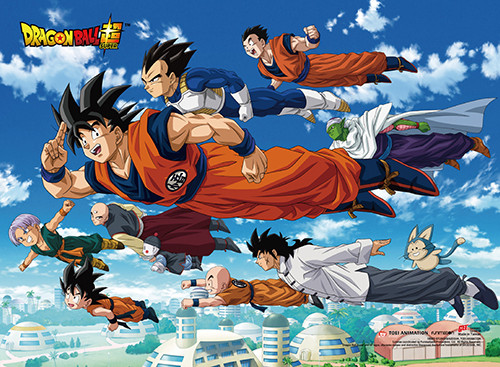 Dragon Ball Super - Goku And Allies Flying Over The City Wall Scroll