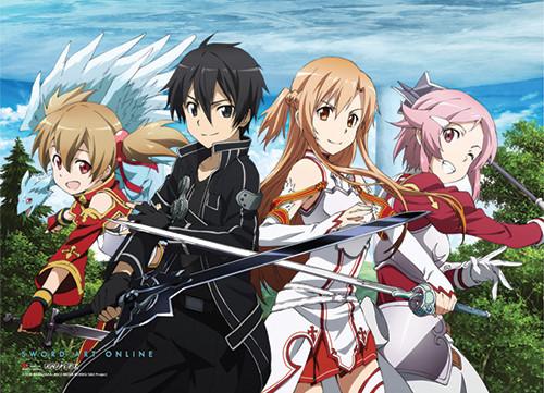 Sword Art Online - Silica, Kirito, Asuna, And Lisbeth Special Edition Wall Scroll