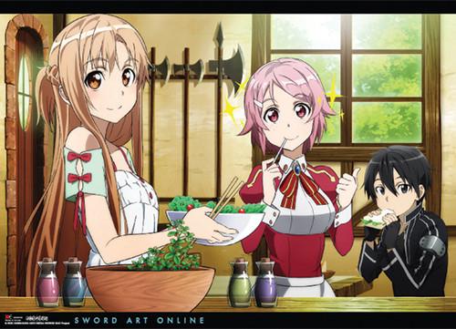 Sword Art Online - Kirito, Asuna, And Lisbeth At Home Wall Scroll