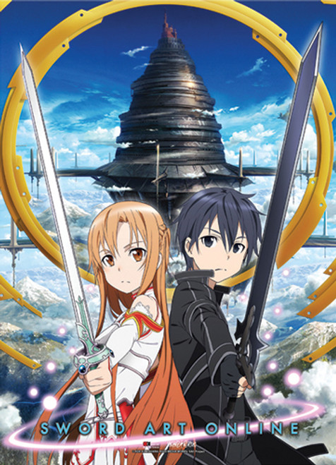 Sword Art Online - Kirito And Asuna, Swords Drawn, In Front Of Aincrad Wall Scroll