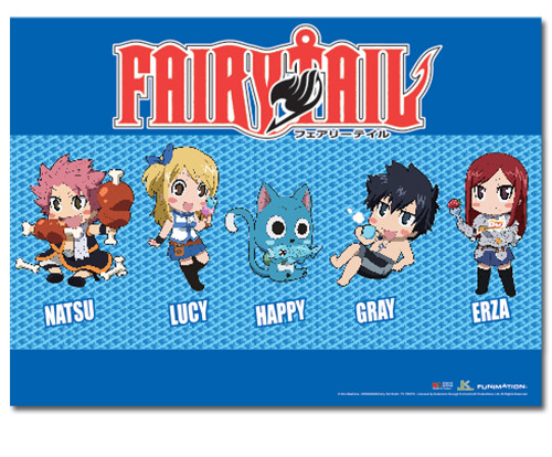 Fairy Tail - Chibi Lucy And Friends Eating Food Wall Scroll