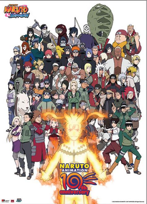 Naruto - 10th Anniversary Edition Of Naruto Cast Wall Scroll