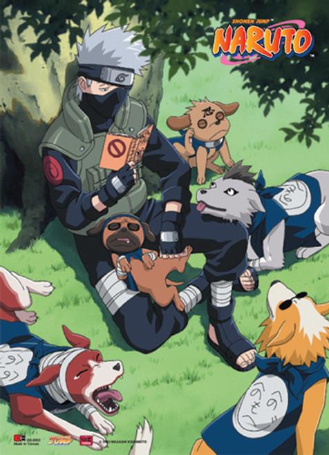 Naruto - Kakashi Reading With His Ninja Hounds Wall Scroll
