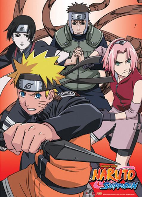 Naruto Shippuden - Team 7 With Yamato And Sai Wall Scroll