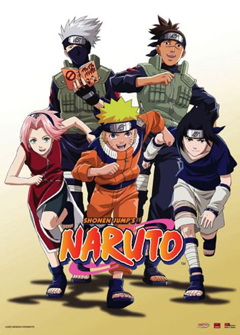 Naruto - Naruto, Sasuke, Sakura, Kakashi, And Iruka Running Wall Scroll