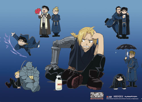 Fullmetal Alchemist Brotherhood - Ed Surrounded By Chibi Friends Wall Scroll
